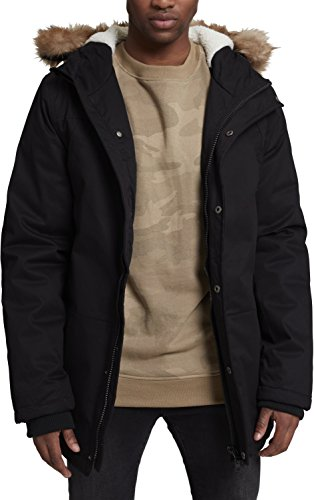 Urban Classics Herren Heavy Cotton Imitation Fur Parka, Schwarz (Black 7), Large