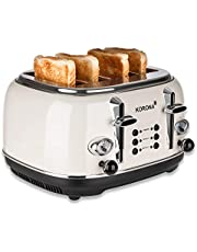 Korona 21676 Broodrooster | 4 sneetjes | room | toastniveau-indicator | ontdooien, roosteren, opnieuw opwarmen | 1630 watt | broodjesaanzetstuk | kruimellade | broodplak centreren