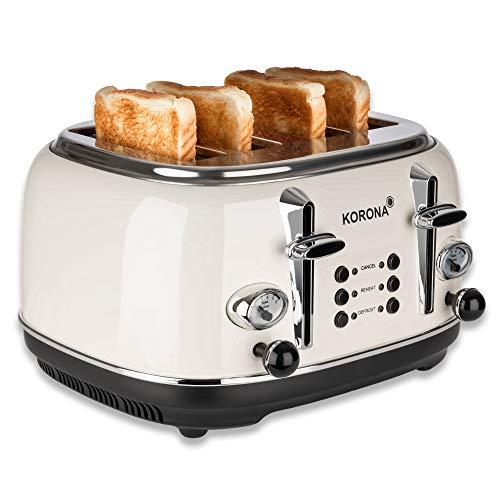 Korona 21676 Toaster | 4 Scheiben | Creme | Röstgrad-Anzeige | auftauen, rösten, aufwärmen | 1630 Watt | Brötchen-Aufsatz | Krümel-Schublade | Brotscheiben-Zentrierung