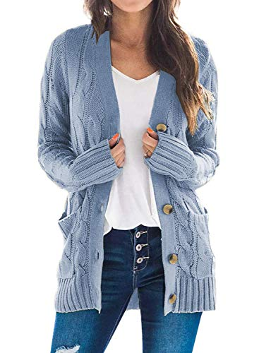 Sidefeel Women Open Front Cardigan Sweater Button Down Knit Sweater Coat 3X-Large Green