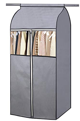 SLEEPING LAMB 54' Garment Bag Organizer Storage with Clear PVC Windows Well-Sealed Garment Rack Cover Hanging Closet Cover for Dresses Coats Jackets Closet Storage, Grey