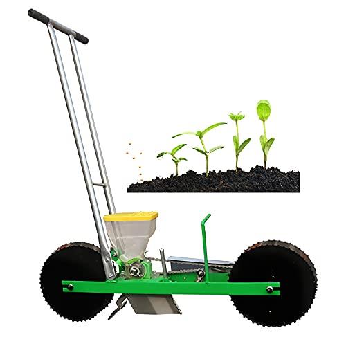 Spandiconcime portatile, seminatrice manuale a fila singola manuale per semina, seminatrice con ruote per fattoria da giardino