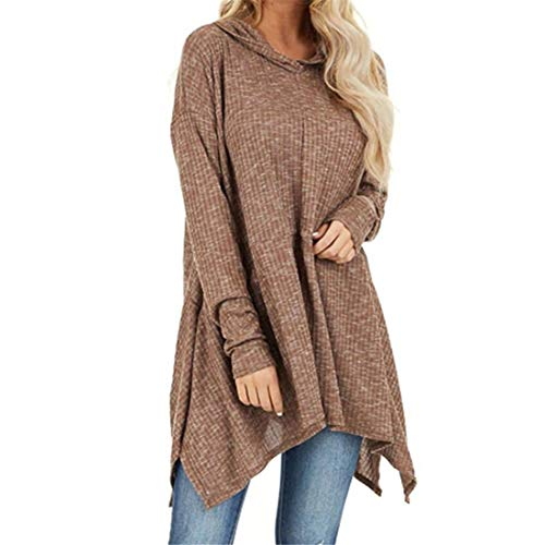 Women Hoodie Women Sweatshirt Solid Color Loose Long-Sleeve Casual Top Thin Women Long Blouse Suitable for Travel, Leisure and Party A-Khaki M