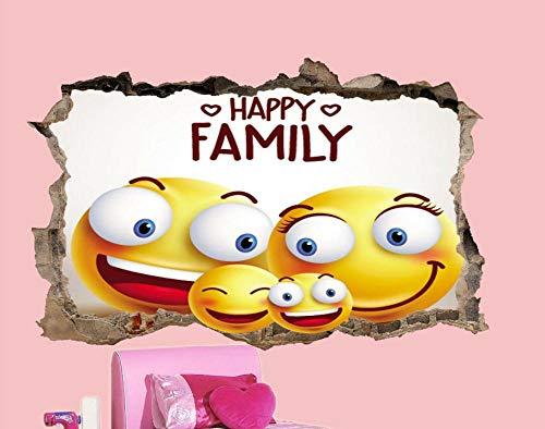 Wandtattoo Glückliche Familie Emoji Wandaufkleber 3D Art Effect Kinderzimmer Wandbild