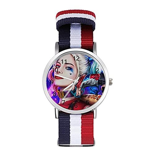 Clown Girl Harley QuinnBraided Band Reloj con escala de moda ajustable para negocios, banda de impresión a color, adecuado tanto para hombres como para mujeres