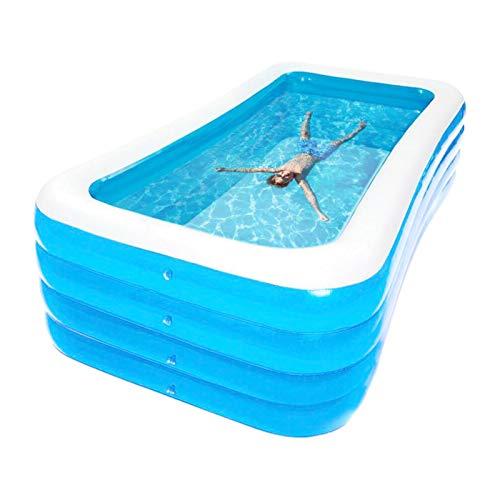 Teckey Aufblasbarer Pool, großer verdickter Familienpool aufblasbarer, rechteckiger Pool für Kinder, Jugendliche und Erwachsene, geeignet für Garten und Outdoor
