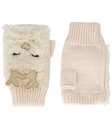 YSTRDY Fingerlose Handschuhe mit Rentier-Motiv, Metallic-Details, weiche Fell-Optik, Winter-Accessoire (424-720)