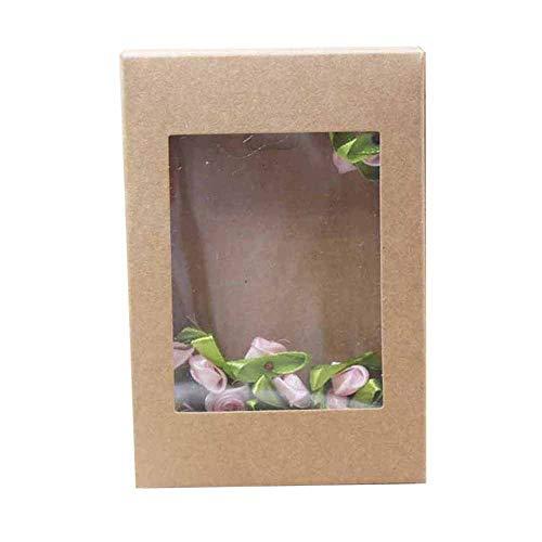 Geschenkdoos BLTLYX 10st per venster met meerdere formaten Pakketdoos Diy papieren geschenk- / trouwdoos met doorzichtig PVC-venster 145x105x25mm KOFFIE 1