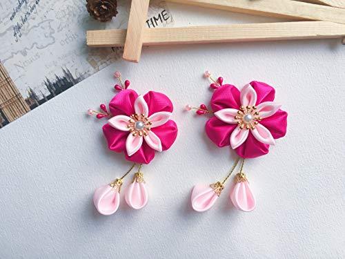 Tsumami Kanzashi - Horquilla para el pelo con diseño de flores y gotas japonesas, color rosa