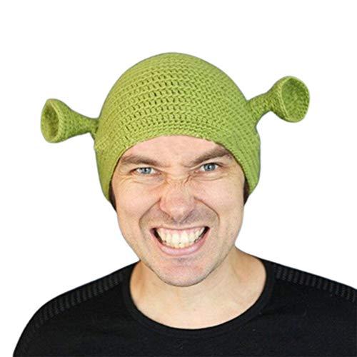 EMUKOEP Berretto unisex lavorato a mano in lana invernale berretto passamontagna unisex cappello Cosplay Dome Cap Shrek cappello per costume da donna uomo regalo
