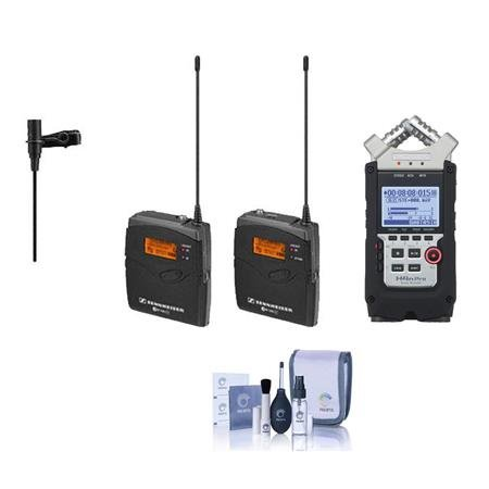 Sennheiser ew 112-p G3-A Wireless Microphone Kit with EK 100 G3 Diversity Receiver Frequency Band A (Range: 516-558MHz) - Bundle with Zoom H4n Pro Handy Mobile 4-Track Recorder, Cleaning Kit