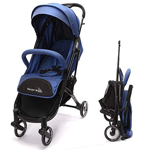 Wonder buggy Leichter Kinderwagen, Reise buggy kompakt einhändig faltbar mit Liegeposition Fünf Punkt Gurt, Ideal für Flugzeuge, Blau