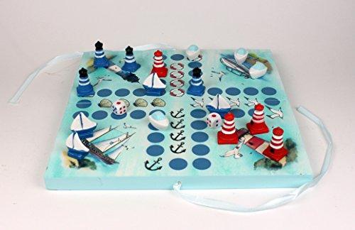 Maritimes Würfelspiel Brettspiel BLAU 2-4 Personen Gesellschaftsspiel Holz Leuchtturm Segelschiff Motorboot Figuren Anker Rettungsring Muschel Möwe