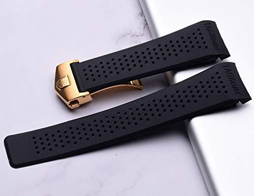 RSB Horlogeband voor Horlogeband Siliconen Band 22 24mm Waterdichte Rubber Horlogeband Vervang Polshorloge Riem Accessoires (Band Kleur: Goud, Band Breedte : 22mm)