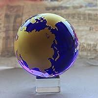 クリスタルボール 60ミリメートルのクリスタルグローバルボールガラス球の装飾品の置物の家の装飾Fengshui工芸品地球の贈り物 水晶玉の置物 (Color : A, Size : 60mm)