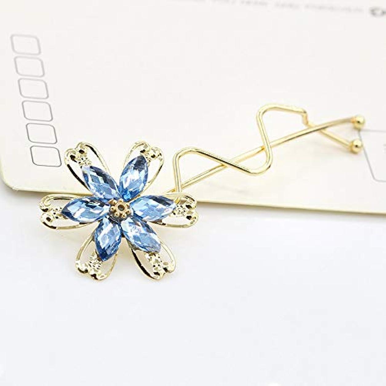 受け入れいつでもしかしHuaQingPiJu-JP ファッションシンプルな桜のヘッドウェア子供のヘアピン便利なヘアクリップ(ブルー)