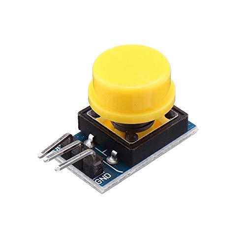 Condensadores Interruptor 12x12mm Clave Módulo táctil El Tacto del botón del Interruptor pulsador sin Enclavamiento con el Casquillo Rojo/Negro/Amarillo/Verde/Azul (15Pcs)