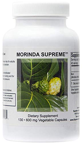 Supreme Nutrition Morinda Supreme, 130 Whole Noni Fruit 600 mg Capsules | 1800 mg per Serving