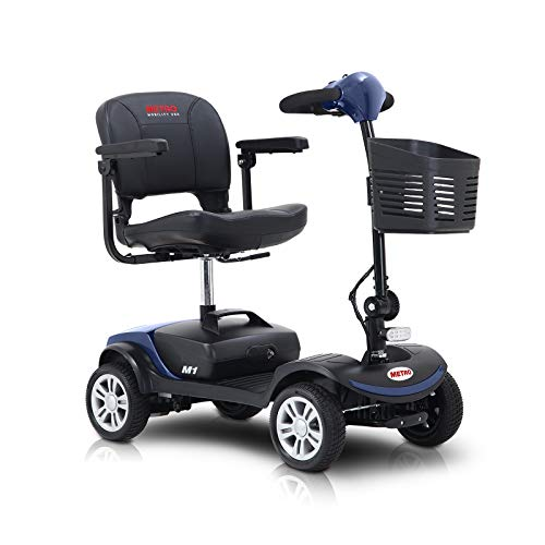 Metro Mobility Compact Travel Electric Power Mobility Scooter for Adults - 265 lbs Max Weight, 4 Wheel, 18 in Width Thick Leather Seats, Large Capacity Lead-Acid Battery - Blue