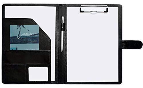Mymazn Cartella Porta Documenti A4 PU Pelle Cartella Portadocumenti A4 Cartellina Porta Documenti A4 Porta Blocco A4 con Pinza Blocco Appunti PU Pelle (Nero)