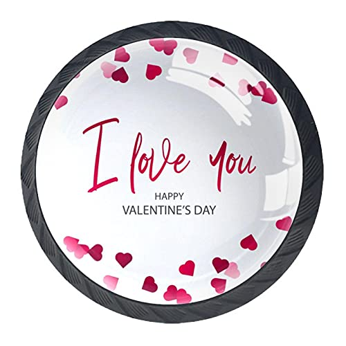 """Perillas de resina con diseño de corazón rojo con texto en inglés """"I Love You"""", para armario, juego de cuatro piezas"""