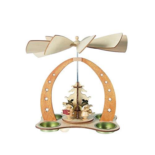 OBC Weihnachtspyramide/musizierende Engel Natur/Pyramide Weihnachten/im Erzgebirge Stil, handgefertigt/Deko zu Weihnachten