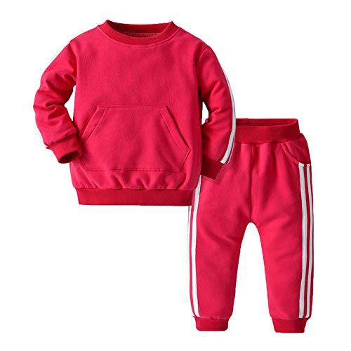 CHICTRY Trainingsanzug Mädchen Junge Jogginganzug Winter Sportanzug Hoodie mit Vorder-Tasche Warm Pullover und Hose mit Taschen Gr. 1-8 Jahre Rosa 98-104