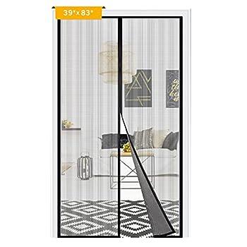 Magnetic Screen Door Adoric Upgraded Door Screen Magnetic Closure Fiberglass Mesh Curtain with Full Frame Hook & Loop Fits Doors Size up to 37  x 82   Item Size  39  x 83