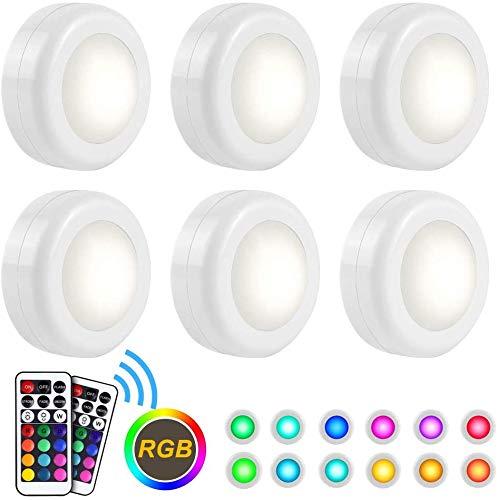 DOOK LED Closet Lampen, Draadloze Kleur Veranderende RGB Puck Licht 6 Pack met 2 Afstandsbediening Dimbare Display Lights Onder Kast Verlichting Kast Lampen Stick Op Lights LED Nachtlampen