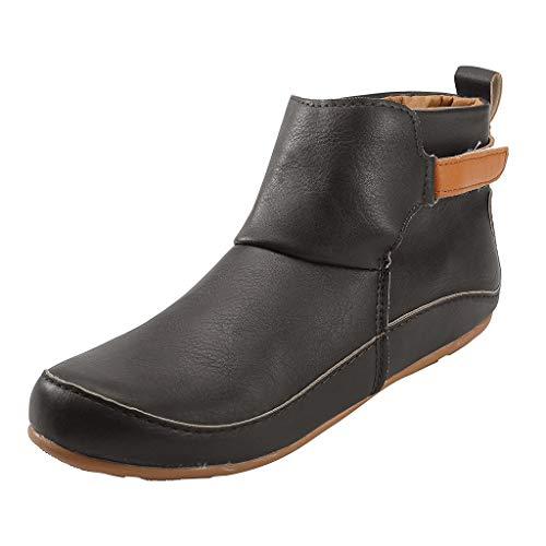 Smonke Damen Vintage Lederstiefel Flache wasserdichte Schuhe Runde Kappe Stiefeletten Mode Freizeit Outdoor Winter Warme Schuhe