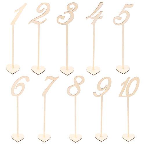 BESTOYARD Números de Madera para Mesas Decoración Bodas Vintage 1-10 10pcs