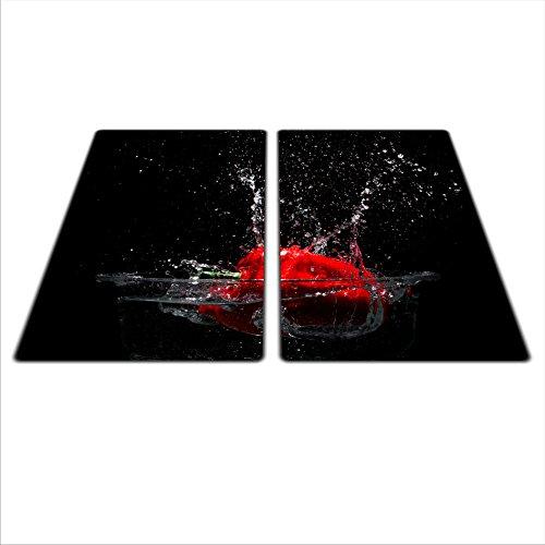 Lot de 2 protège-plaques universels pour plaques de cuisson en verre/céramique/induction/gaz avec 4 pieds en silicone anti-rayures Couleurs vibrantes grâce aux images HD Dimensions :2 x 30 x 52 cm, Thème : Poivre, coloris : noir