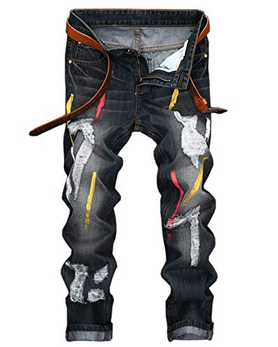 YOUCAI Herren Bunt bemalt Patches Jeanshose Ripped Röhrenjeans Straight Leg Reißverschlusshose Distressed Holes Zerstörte Biker Jeans(kein Gürtel) 38W