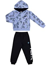 Fila Boys Two Piece Fleece Pant Sets with Hooded Sweatshirt Kids 2-7 Clothes (Blue Vapor, 3T)