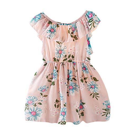 Hui.Hui Bébé Filles Robe à Imprimé Fleurs Robe de Princesse Fête Déguisement Jupe sans Manches été Mode Vêtements Chic Élégant Âge 1-7 Ans