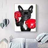 ganlanshu Cute Baby Room Art Wall Sticker Cachorro de Dibujos Animados con Boxer Lienzo Pintura para niños decoración de la habitación,Pintura sin Marco,40x50cm