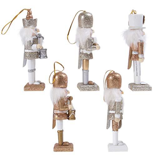 Amosfun Weihnachtsschmuck Holz Nussknacker Soldat Figur Figur Ornament Nussknacker Soldat Puppenspielzeug für Weihnachtsfeier Hängen Dekor Golden