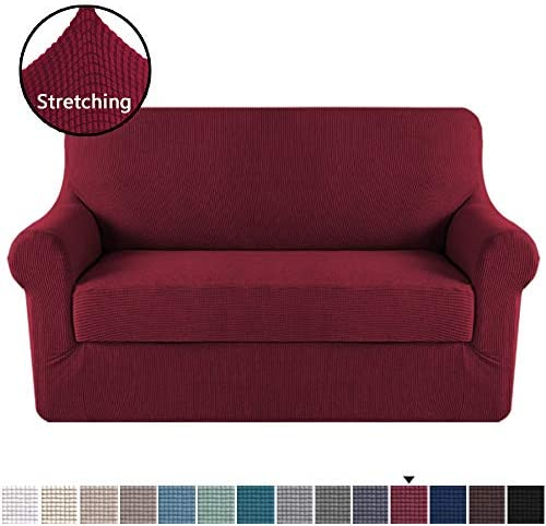 Best H.VERSAILTEX Loveseat Slipcover 2 Piece Stretch Loveseat Cover Couch Cover Sofa Cover for Loveseat w