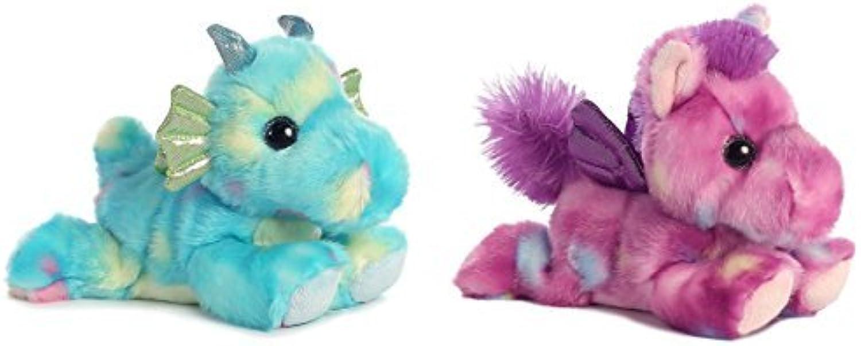 Bundle of 2 Aurora 7 Stuffed Beanbag Animals  Sprinkles Dragon & Tutti Frutti Pegasus by Aurora