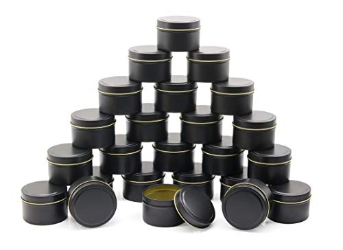 Candle Tin 24 Piece, 5 oz, Candle Containers, Candle Jars for Candle Making - Available in Silver, Black, Gold (Black)