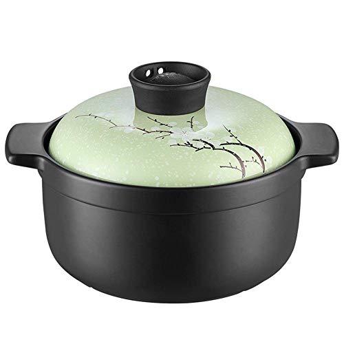 Plato para cazuela Olla de Sopa de Gran Capacidad para el hogar Olla de cerámica Resistente a Altas temperaturas Olla para estofado Utensilios de Cocina (Color: Verde, Tamaño: Bajo)