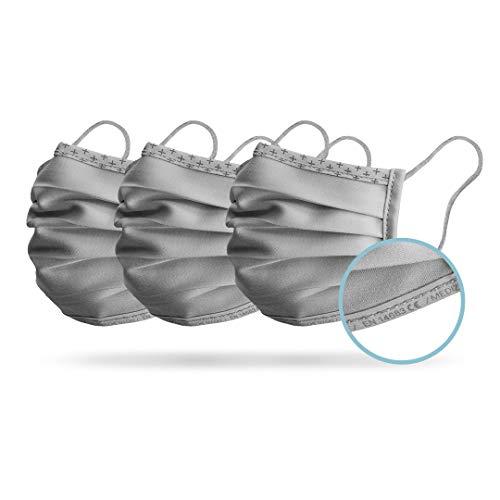 Isko Vital+ Supreme CE & EN 14683 Typ I Zertifizierte Medizinische Masken - Waschbare, wiederverwendbare Gesichtsmasken aus Bio-Baumwolle - 3er Pack - Grau - Kind 6-13 Jahr - 95% Filtration