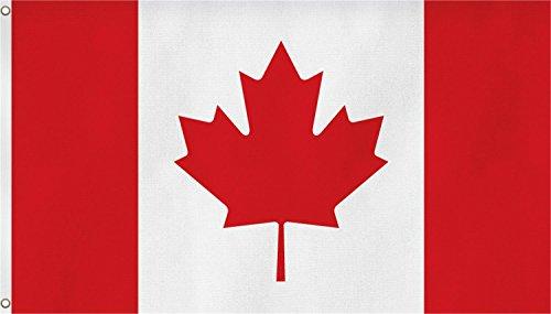 FahnenMax Drapeau avec deux œillets métalliques de fixation sur mât) – Taille 90 x 150 cm, - Kanada, 90x150