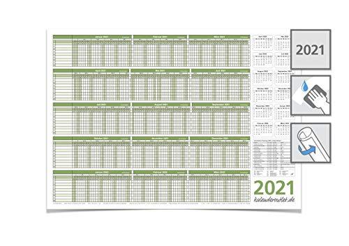 Personalplaner Urlaubsplaner 2021, feucht abwischbar DIN A2 59,4 X 42,0 CM für 8 Mitarbeiter