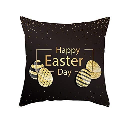 Briskorry Happy Easter 2020 - Funda de cojín (45 x 45 cm, algodón), diseño de Pascua, poliéster, H, 45 x 45 cm