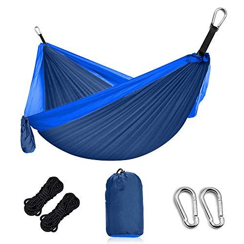 Grassman Hängematte Outdoor Ultraleichte Camping Hängematte mit Baumgurten und Karabiner, Ripstop-Nylon Fallschirm Reise Hängematten für Zwei Personen, bis 300 kg balastbar, 300 x 200cm