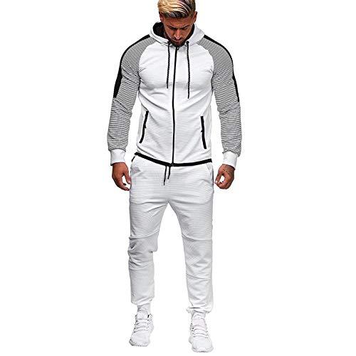 Yowablo Sweatshirt Top Pants Sets Sportanzug Trainingsanzug Herren Autumn Gradient Zipper Print ( L,1Weiß )