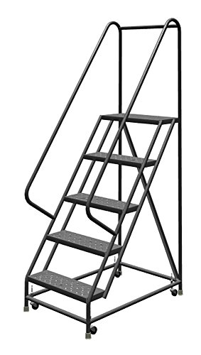 Tri-Arc KDSR105166 5-Step Steel Rolling Industrial and Warehouse Ladder with Handrails and 16