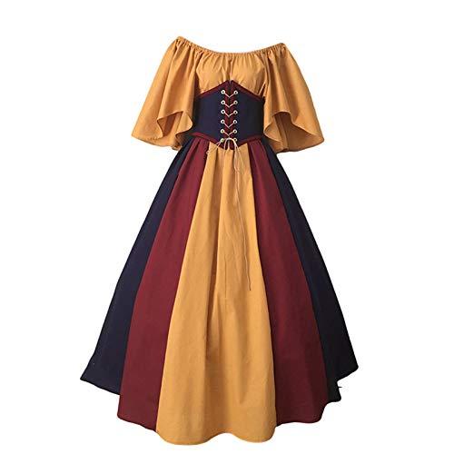 Baiomawzh Gothic Kleidung Damen Kleid A-Linie Vintage Festlichkleid Langarm Retro Elegant Kleider Korsett Taille Cocktailkleid Colorblock...