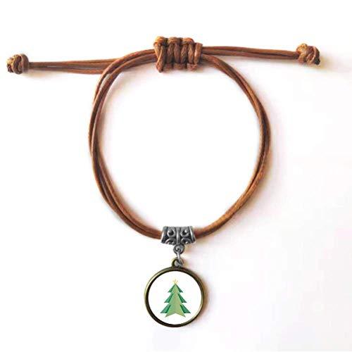 Diythinker - Pulsera de cuero, diseño de árbol de Navidad del origami, con doble pulsera